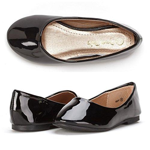 DREAM PAIRS Little Kid Muy Black Pat Girl's Mary Jane Ballerina Flat Shoes - 2 M US Little Kid