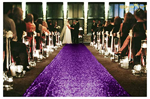 Sequin Aisle Runners 2Ft x 15Ft Purple Carpet Runner For Party Glitter Runner For Wedding -