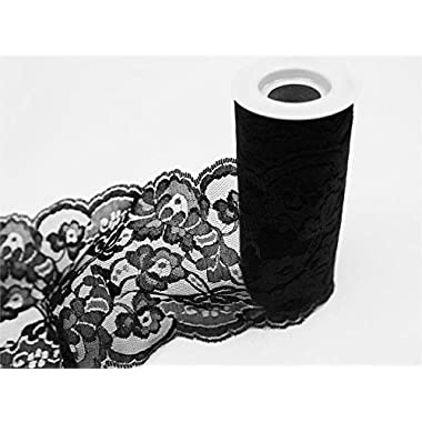 Wedding LACE Tulle Roll 5.5  x 10 yards - Black