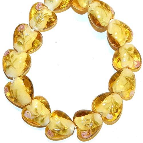 Puffed Heart Lampwork Glass Beads 13