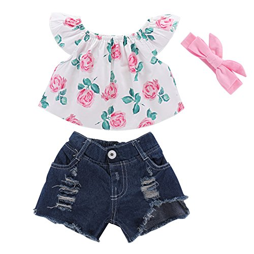 Mikrdoo 3 Pcs Toddler Girl Summer Outfits Floral Shirt Tops + Denim Shorts + Pink Headband Clothes Set (1-2 Years, A) ()
