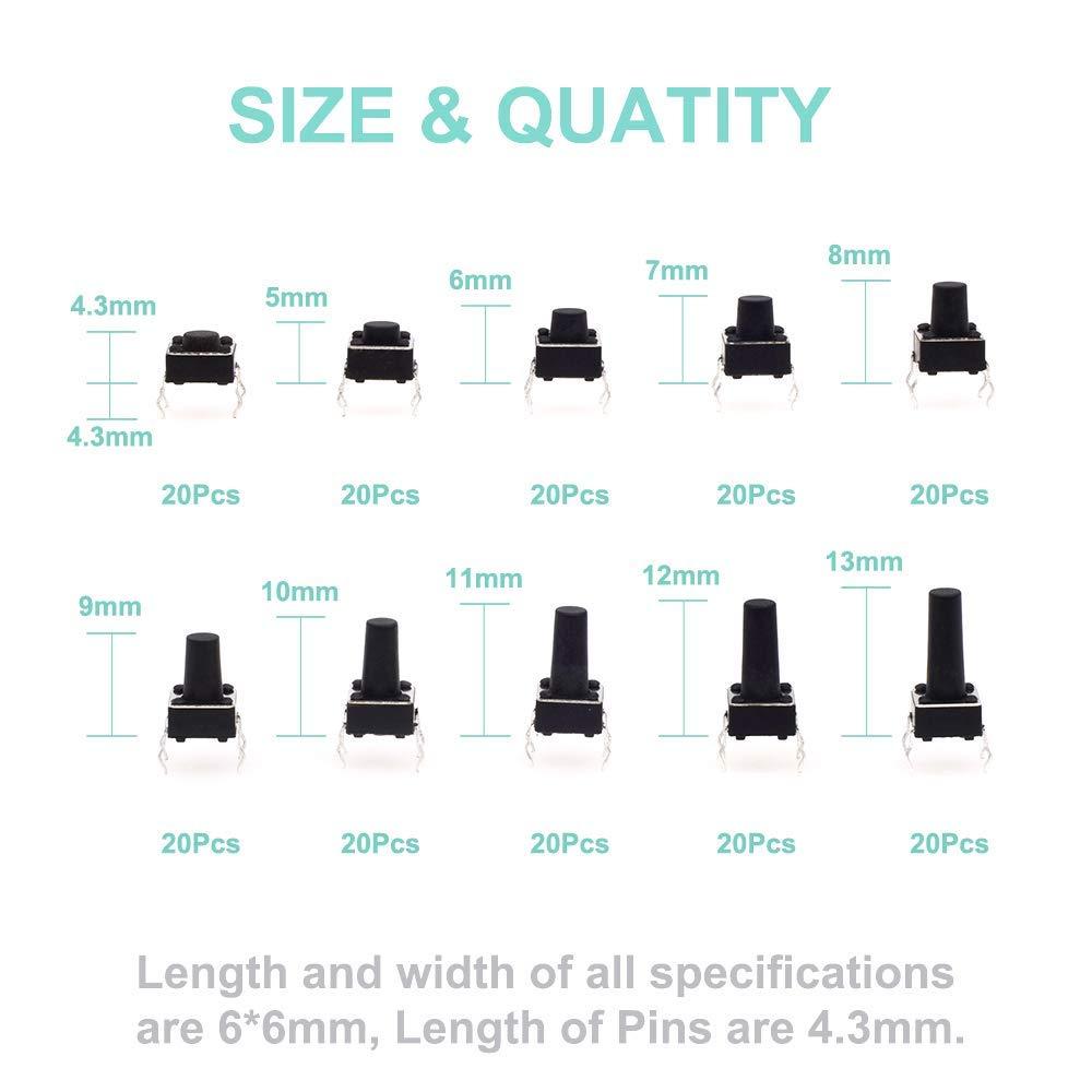 6 x 6 x 4.3mm - 13mm interrupteur tactile a 4 broches VISSQH 200PCS micro interupteur,Tactile Bouton-Poussoir Micro Momentan/ée Tact Assortiment Kit,pour Arduino DIY /Électronique