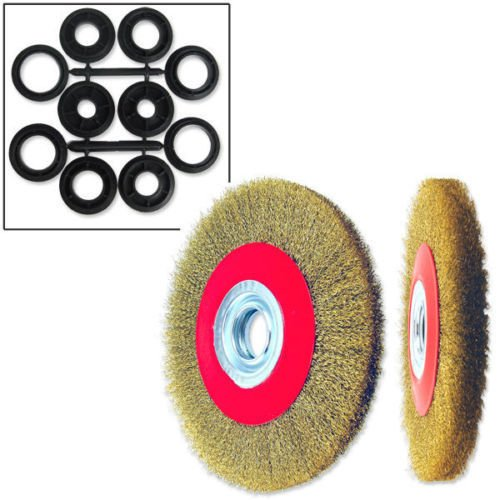 Face Angle Adaptor - ESKALEX>>1PC 6'' CRIMPED WIRE WHEEL BRUSH WIDE FACE FOR BENCH GRINDER ANGLE And 70 Carbon SteelCopper PlatedMax Speed: 6,500rpm1-1/4 Arbor + 5 Adaptors 1