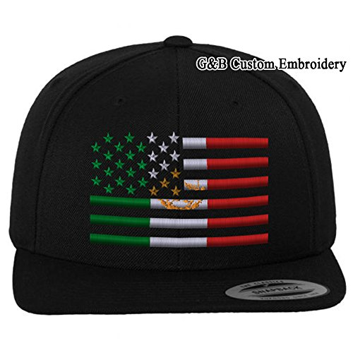 dd8150abb23 G B Custom Embroidery USA Mexico Flag Combination Snapback Cap Hat ...
