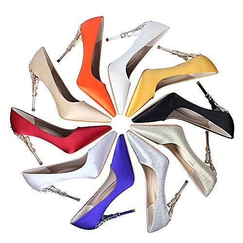 Simple Pu Casual Haute Section Élégant Mode En Pointu Stiletto Profonde Métal Banquet Party Femmes Chaussures Bouche Cuir Talons De Fleur Red Peu Rrock Mince wWqE1XnHYx