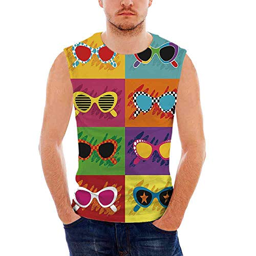 Mens Sleeveless 70s Party Decorations Heavy Cotton H D,Pop Art Style Sunglasses