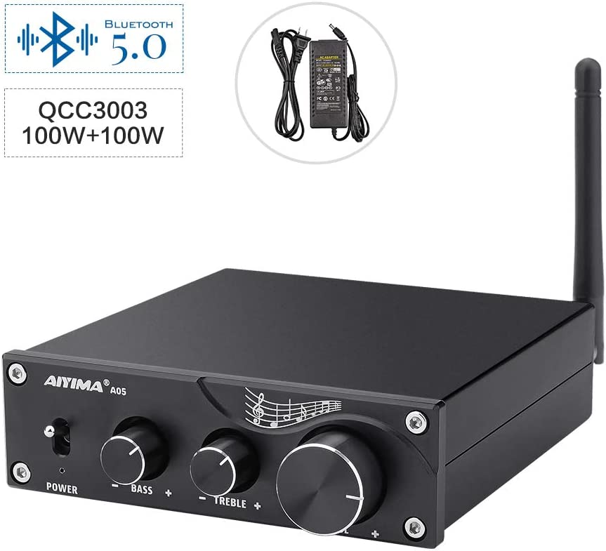AIYIMA A05 TPA3116 Bluetooth 5.0 Stereo Audio Amplifier 100Wx2 Stereo HiFi Digital Class D Integrated Amp Sound Amplifiers with Subwoofer Output for Speaker Home Audio Theater