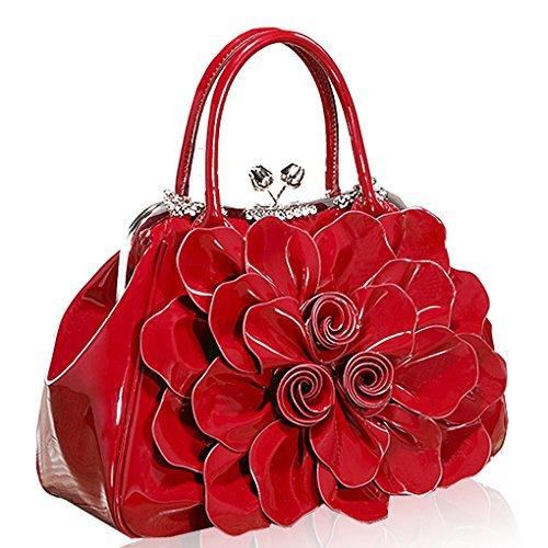 Kaxidy Bolso Mujer Vino De Charol Cuero Mano Flores Asas Rojo w1xwqrFd4