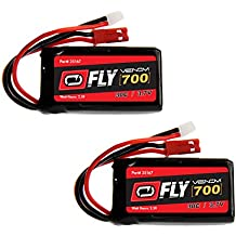 Venom Fly 30C 1S 700mAh 3.7V LiPo Battery with Micro Losi and JST Plug x2 Pack Combo