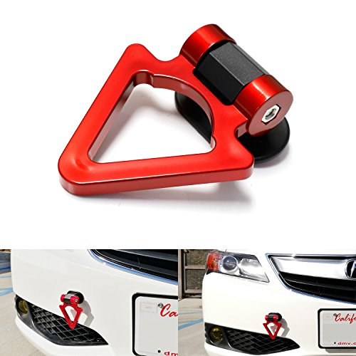 iJDMTOY (1) Universal Fit Red Triangle Track Racing Style Tow Hook Stick To Bumper Decoration For Any Car SUV Truck (Not Functional, Decorative Purpose ONLY) (Hook Functional)