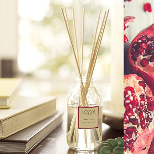 LOVSPA White Pomegranate Essential Oil Reed Sticks Diffuser Set | Bergamot, White Pomegranate, White Rose, Cedar Wood, Wild Black Currant & Sandalwood | Best Home Gift Idea! Vegan. Made in The USA by LOVSPA