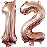 ZiYan 40 Inch Giant 12th Rose Gold Number Balloons,Birthday/Party balloons