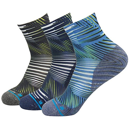 Junior Socks Trail (Hiking Socks HUSO Junior's Funky Casual Dry Feet Breathable Athletic Running Ankle Length Baseball Socks, MultiColor Grays and Blues, 3 Pairs, Men Size 6-11/Women Size 5.5-12)