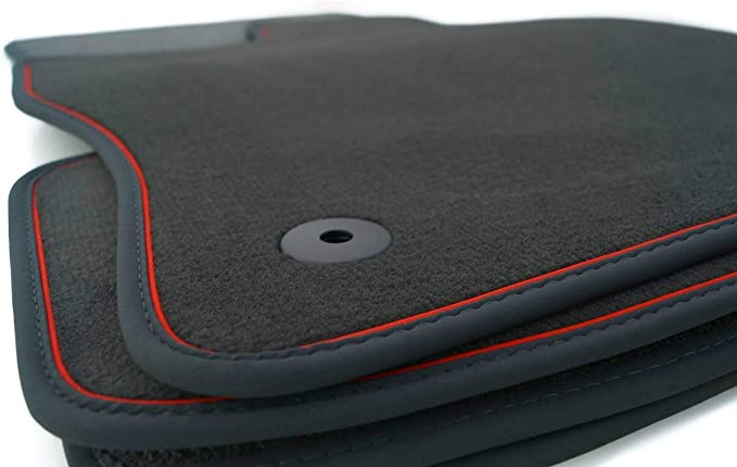 Kh Teile Fußmatten Passend Für Passat B6 B7 Premium Qualität Velours Autoteppich 4 Teilig Schwarz Zierband Rot Auto