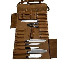 Lightweight Genuine Vintage Tan Leather 16 Pockets Chef Knife Bag/Chef Knife Roll