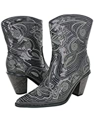 Helens Heart Womens Sparkle Sequin Bling Short Western Cowgirl Boots Grey Size 10