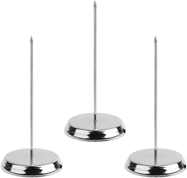 5-3//4inches BCP Silver Color Desk Straight Rod Paper Holder Spike Stick Receipts Check Bill Fork