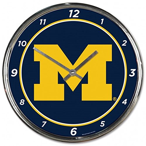 NCAA Michigan Wolverines WinCraft Official Chrome Clock (Wolverines Michigan Clock)