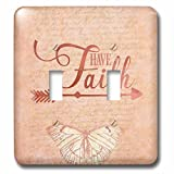 3dRose Andrea Haase Inspirational Typography - Typography Have Faith With Butterfly - Light Switch Covers - double toggle switch (lsp_282571_2)