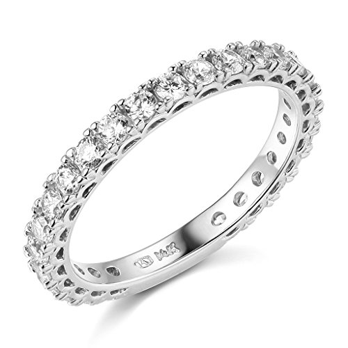 14k White Gold SOLID Semi-Eternity Wedding Band - Size 6 (Gold Wedding White Band Eternity)