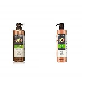 Sulfate Free Shampoo and Conditioner, Dye Free Smoothing Treatment, Argan Oil and Avocado, Hair Food, 17.9 FL OZ and Hemp & Honey Repair Serum, Bundle