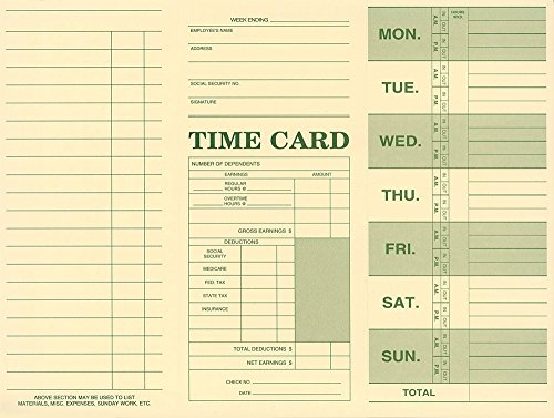 Employee Attendance Weekly Time Card (Pack of 250) by Next Day Labels
