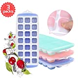 Ice Cube Trays with Lid 3 Pack, [2019 Upgraded] Easy-Release and Flexible BPA
