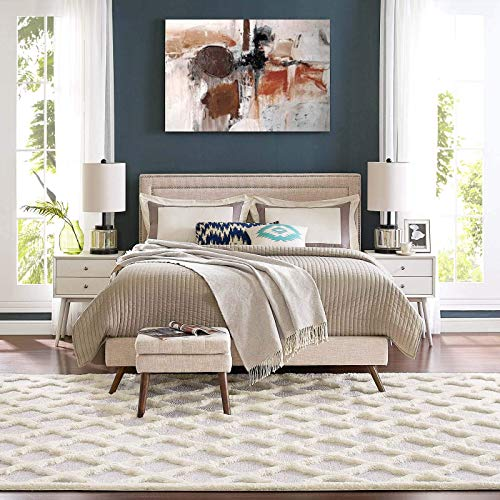 - Modway R-1154A-810 Regale Abstract Moroccan Trellis 8x10 Shag Area Rug, Ivory and Light Gray