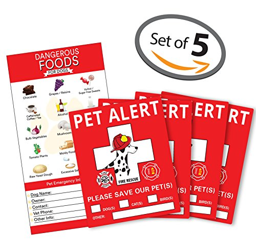 """Pet Alert Safety Fire Rescue Sticker - 5""""x 4"""" inches - Save Our Pets Emergency Pet Inside Decal - In Case of Emergency Danger Pet In House Home Window Door Sign - Protect Beloved Dogs Cats Birds"""