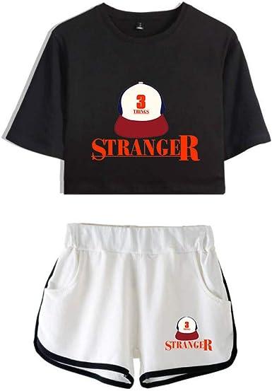 Imagen deMemoryee Stranger Things imprimiendo Camisetas y Shorts Tops de Ropa Traje de Dos Piezas para niñas y Mujeres Ropa Deportiva de Verano