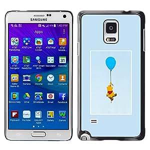 YOYOYO Smartphone Protección Defender Duro Negro Funda Imagen Diseño Carcasa Tapa Case Skin Cover Para Samsung Galaxy Note 4 SM-N910F SM-N910K SM-N910C SM-N910W8 SM-N910U SM-N910 - oso lindo dibujo personaje de dibujos animados