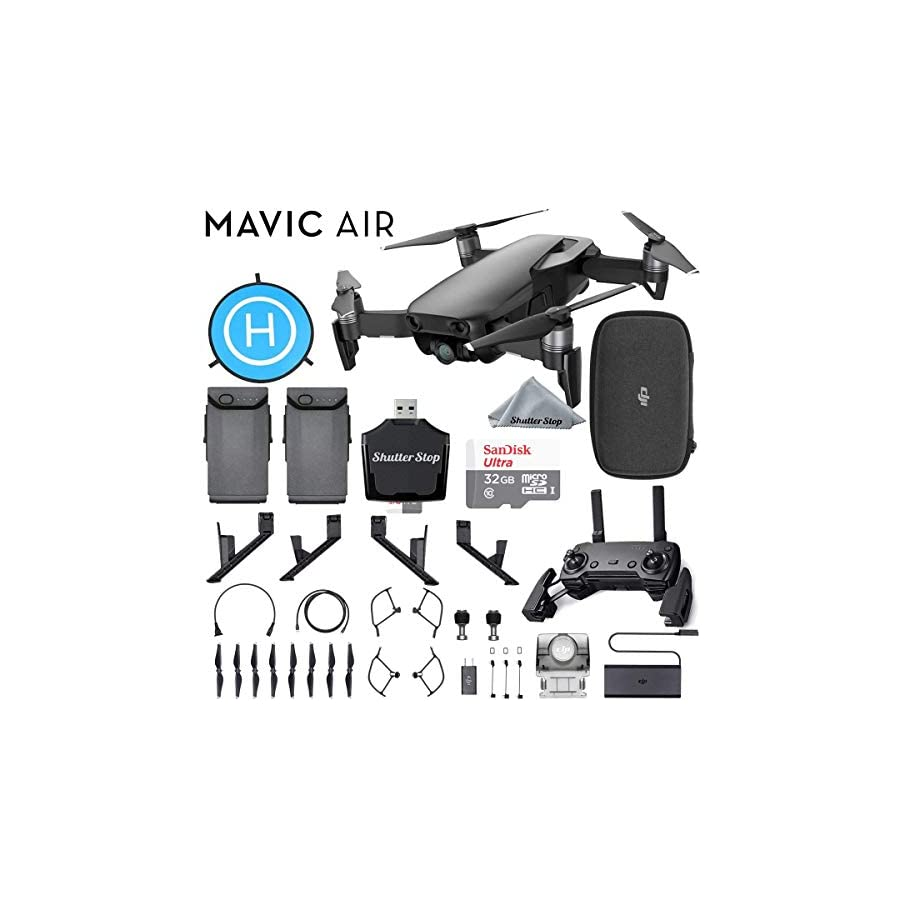 DJI Mavic Air Quadcopter Onyx Black Bundle with 2 Batteries, Sandisk Ultra 32GB Card, Foldable Landing Pad, Lens Hood, Height Extender + More!