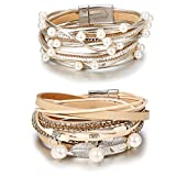 Hanpabum 2Pcs Multilayer Leather Wrap Bracelets Women Girls Boho Magnetic Clasp Bangle Bracelets Set (A)