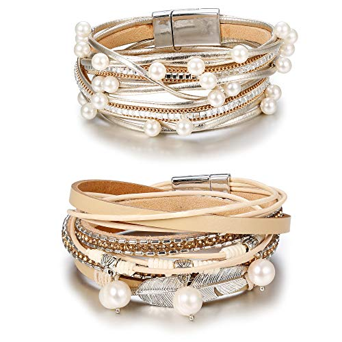 Leather Bracelet Girl Bracelet - Hanpabum 2Pcs Multilayer Leather Wrap Bracelets Women Girls Boho Magnetic Clasp Bangle Bracelets Set (A)