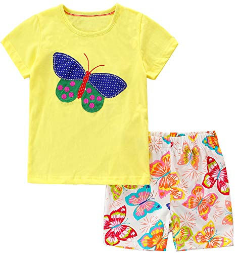 - Bumeex Toddler Girls Summer Outfit Cotton Yellow Top and Shorts Clothing Set Size 7