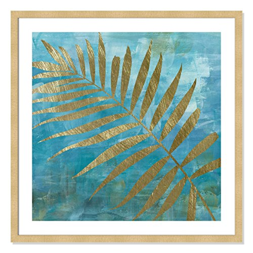 Casa Fine Arts Golden II Blue and Gold Modern Tropical Palm Leaf Archival Art Print, 31