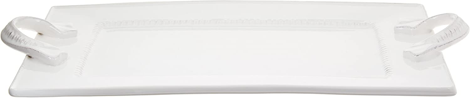 American Atelier Bianca Dash Rectangle Platter with Handles, White