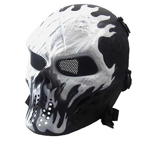 Usstore Halloween Airsoft Paintball Full Face Skull Skeleton CS Mask Tactical Military Mask (Halloween Bandana Face Paint)