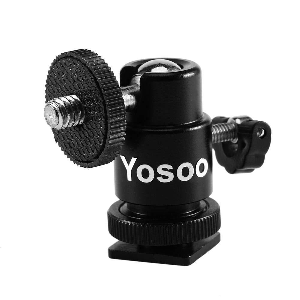 EBTOOLS Testa a Sfera per Treppiede,Camera Tripod 1//4 Adattatore Hot Shoe Supporto per Staffa per Luce Flash Supporto a Sfera Testa a Sfera