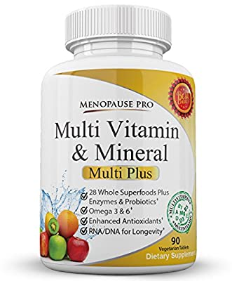 Whole Food Multivitamin & Mineral Supplement with Probiotics Enzymes and Anti-Aging Nucleic Acids for Longevity - 90 tablets - Designed for Women Used by Everyone