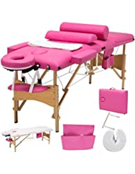 Uenjoy Folding Massage Table 84'' Professional Massage Bed 3 Fold With Additional Accessories, Pink