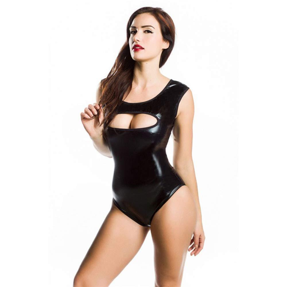 Diversión sexy sexy Diversión HGUIAZ Sexy Bodysuit Catsuit con Ajustado Show Tu Figura Sin Mangas Diseño Lencería Leotardo Patentar Cuero Exótico Disfraces Adecuado para Noche Clubs,Black-XL 9abaf0