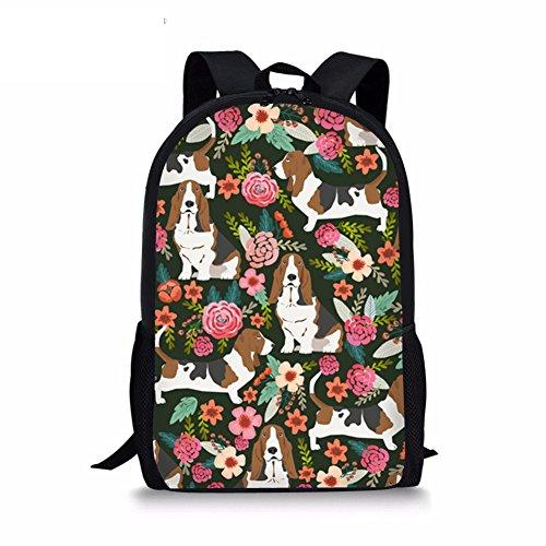 Basset Hound Print Children Backpack Cute Cartoon Dog Rucksack School Student