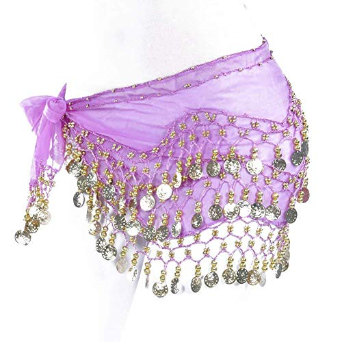REINDEAR Vogue Style Chiffon Dangling Gold Coins Belly Dance Hip Scarf US Seller (Purple) -