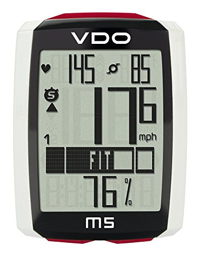 VDO M5 large backlight display extra durable and long lasting data Storage Heart Rate and Cadence Digital Wireless Cycling Computer SET (Computer Vdo Bicycle)