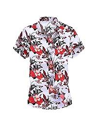 Turn Down Collar Shirts for Men,Fashion Slim Tops Loose Short Sleeve Hawaii Printed T-Shirt