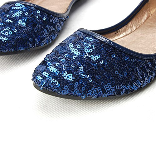New Kenavinca Womens Shoes Flats Sequined Classic Black Gliiter Flat Ladies Ballerina zzxqOSr