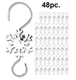 Christmas Ornament Hooks - Silver Snowflake Hooks - 48 Pack of Silver Wire S Hooks - Ornament Accessories