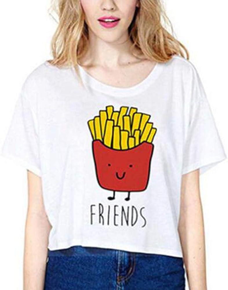 Keephen Camiseta Casual de La Mejor Amiga para 2 Chicas - Linda Hamburguesa y Papas Fritas Imprime Blusa Suelta: Amazon.es: Ropa y accesorios
