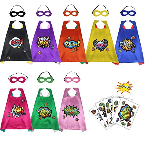 Superhero Capes and Masks Set for Kids with Hero Stickers-Boys Girls Party Dress Up Costumes(8 -
